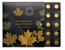 Maplegram Goldmünzen im Blister als Anlagegold