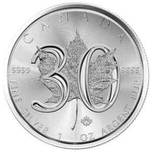 1 oz Maple Leaf 2018 Silbermuenze Jubilaeumsausgabe 30 Jahre Vorderseite